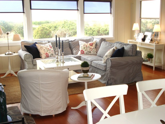 Slipcovered Sectional Family Room Traditional with Beach Slipcovers