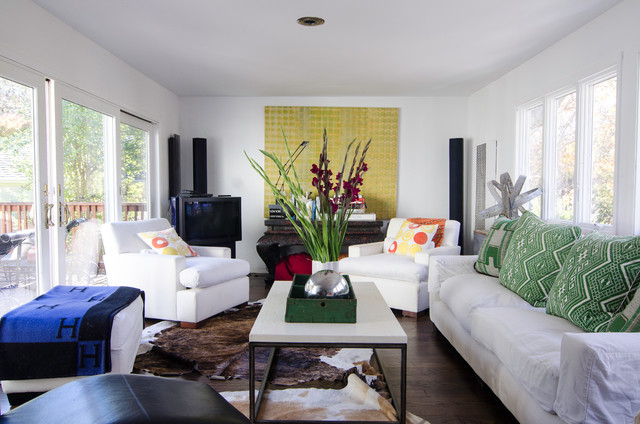 slipcovers for couch Living Room Eclectic with armchairs artwork blankets bold