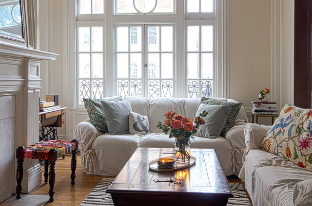 slipcovers for couch Living Room Shabby-chic with casement windows crewel work