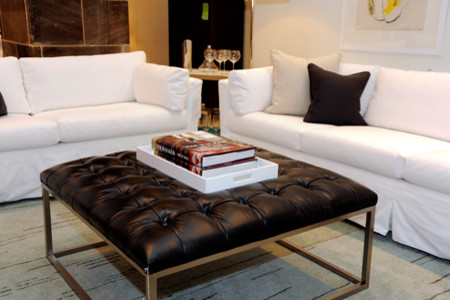 Slipcovers for Loveseats Living Room Traditional with Black Leather Ottoman Large