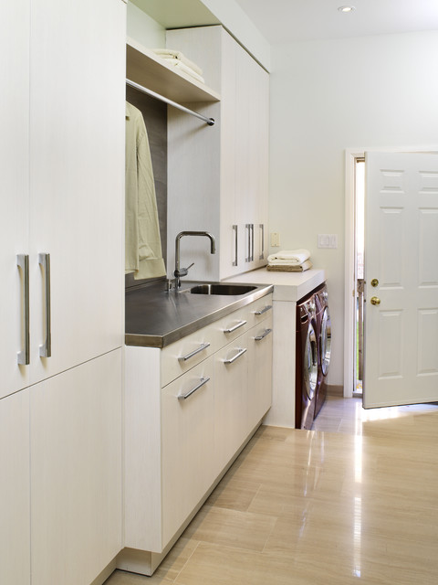 Slop Sink Laundry Room Contemporary with Beige Marble Floor Built