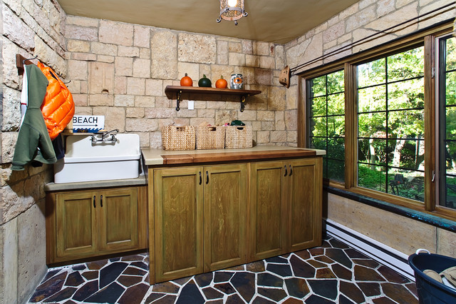 Slop Sink Laundry Room Eclectic with Apron Sink Baskets Bench