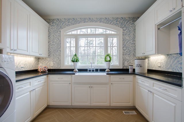 Slop Sink Laundry Room Traditional with Apron Sink Blue Wallpaper