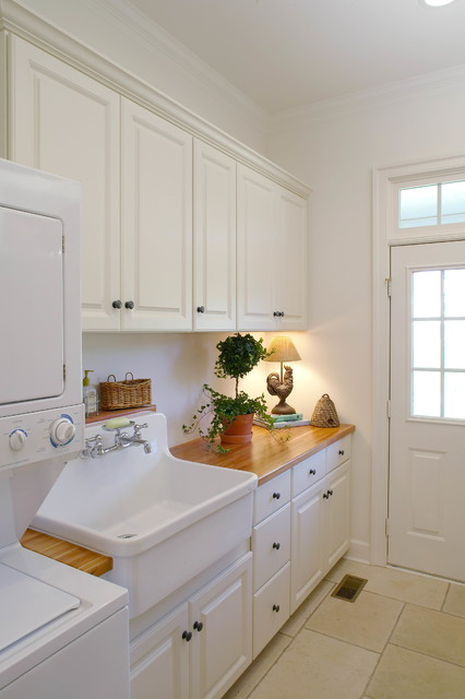 slop sink Laundry Room Traditional with laundry tub stacked washer
