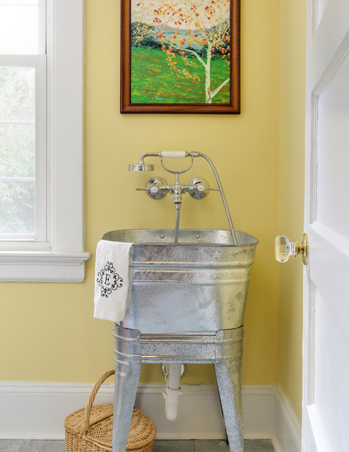 Slop Sink Laundry Room Transitional with Laundry Sink Metal Utility
