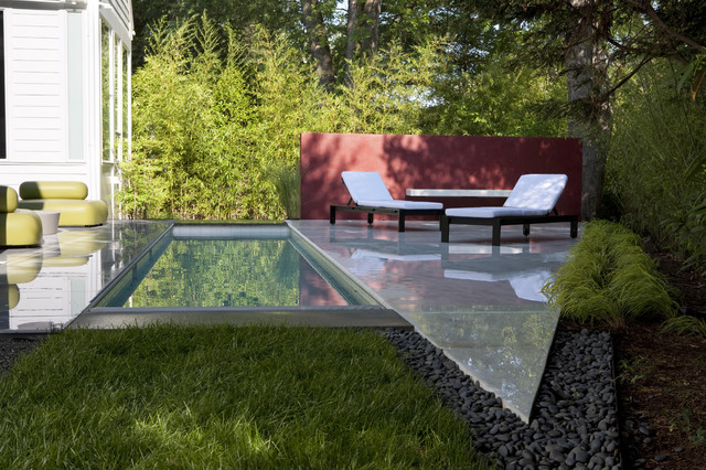 Small Inground Pools Landscape Transitional with Chaise Longue Chaise Lounge