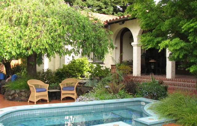 Small Inground Pools Patio Mediterranean with Arch Archway Beige Column1
