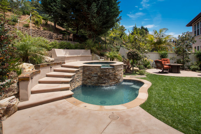 Small Inground Pools Pool Traditional with Concrete Bench Concrete Patio