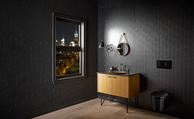Small Inground Pools Spaces Contemporary with Bathroom Black Bronze Eclectic