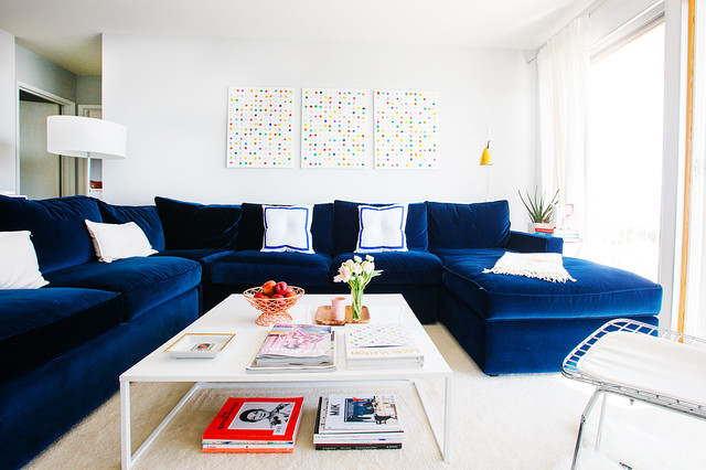 Small Sectional Sofa with Chaise Living Room Transitional with Abstract Art Blue Velvet