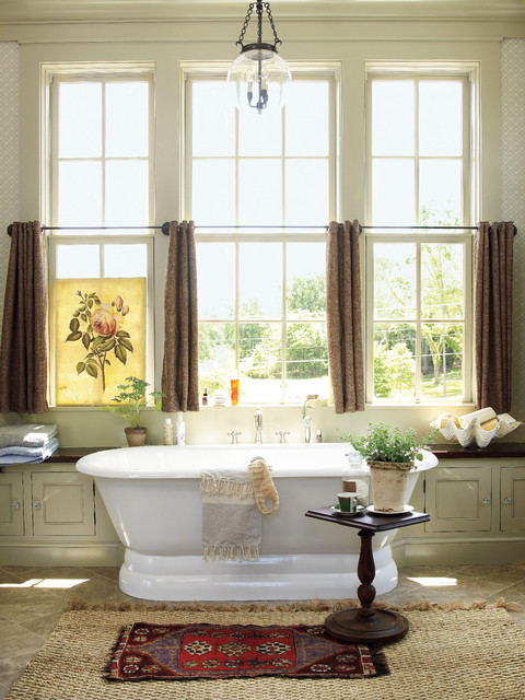 Soaker Tub Bathroom Farmhouse with Antique Bench Built in Storage