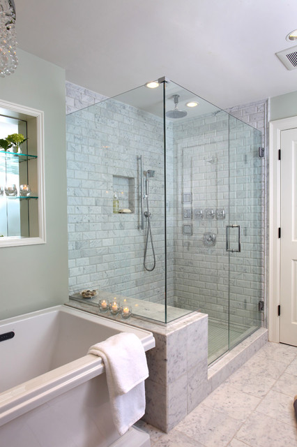 Soaker Tubs Bathroom Traditional with Bath Frameless Glass Shower
