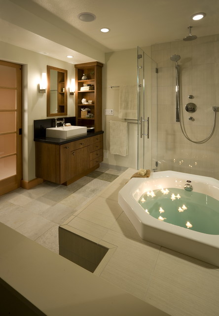 Soaking Tubs Bathroom Asian with Frosted Glass Door Glass