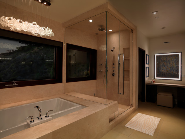 Soaking Tubs Bathroom Contemporary with Blown Glass Light Custom