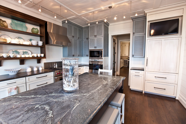 Soapstone Countertops Kitchen Beach with Breakfast Bar Built in Ceiling