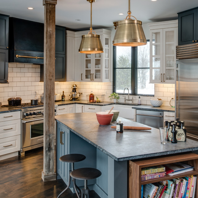 Soapstone Countertops Kitchen Contemporary with Black and White Cabinets