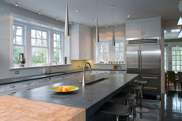 Soapstone Countertops Kitchen Contemporary with Black Counters Butcher Block1