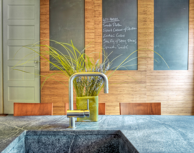 soapstone countertops Kitchen Contemporary with breakfast bar chalkboard chalkboard