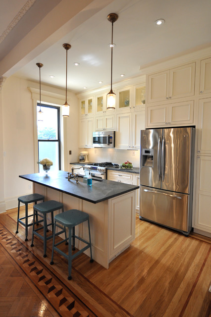 Soapstone Countertops Kitchen Traditional with Aqua Stools Black Counter