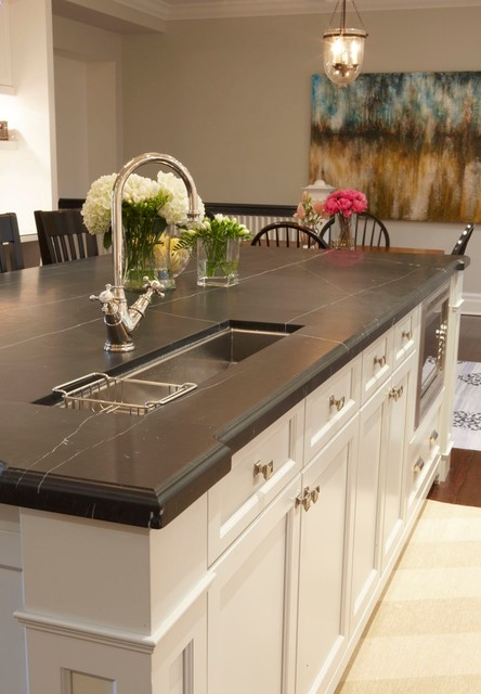 Soapstone Countertops Kitchen Traditional with Bell Pendant Floral Arrangement