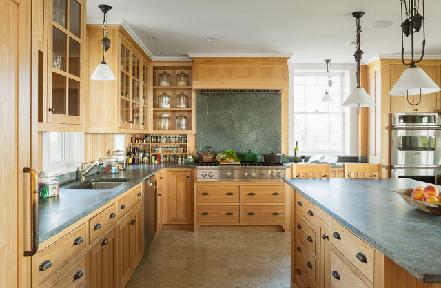 soapstone countertops Kitchen Traditional with built-in spice rack cabinets