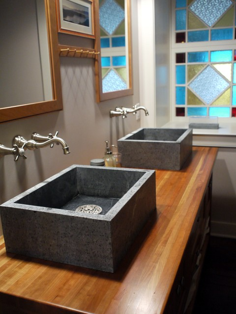 soapstone sink Bathroom Farmhouse with above counter sink above