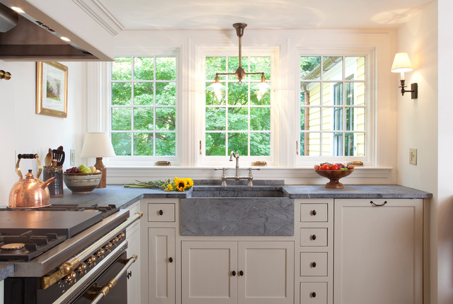 Soapstone Sink Kitchen Traditional with Cottage French Windows Pendant