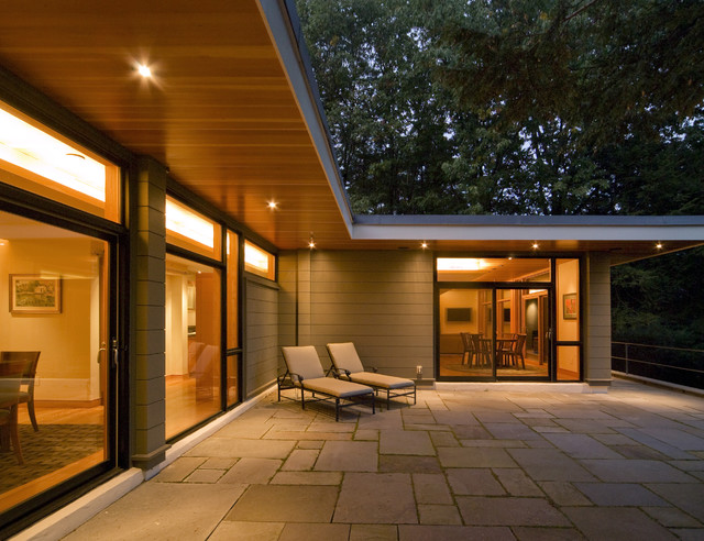 soffit lighting Exterior Contemporary with chaise lounge flat roof