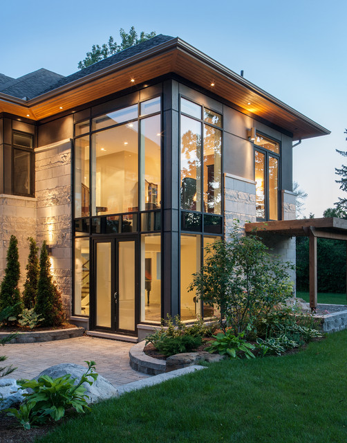 Soffit Lighting Exterior Contemporary with Large Windows Metal Mullions