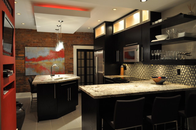 Soffit Lighting Kitchen Contemporary with Accent Wall Bar Stools