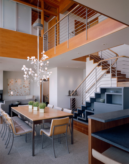 Solid Core Interior Doors Dining Room Contemporary with Bamboo Flooring Bamboo Stair