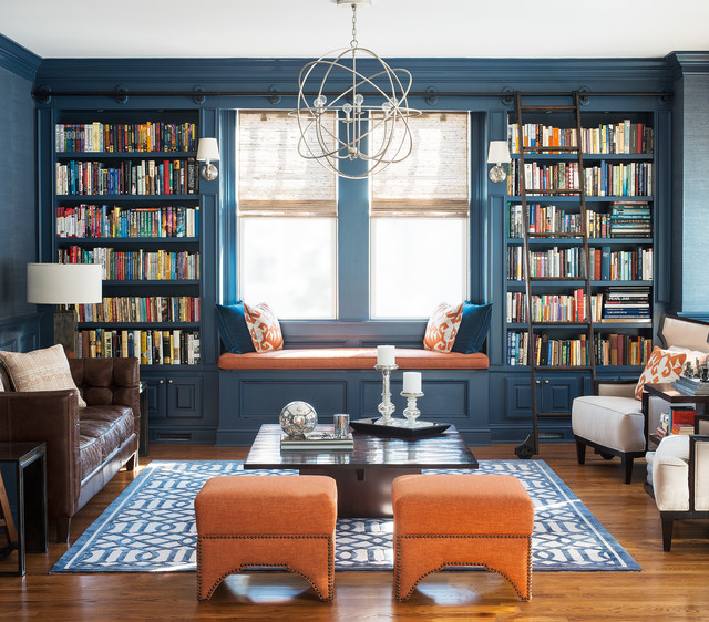Solid Wood Bookcase Living Room Transitional with Blue Grasscloth Built In