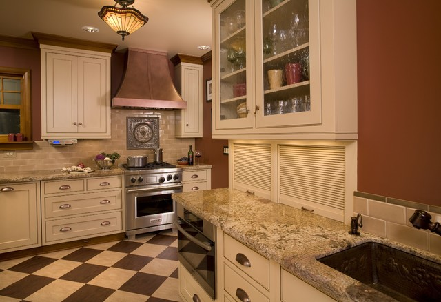 Sonoma Tile Kitchen Traditional with Accent Tiles Beige Cabinets