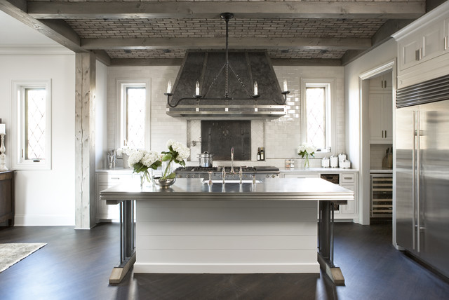 Sonoma Tile Kitchen Transitional with Accent Ceiling Brick Chandelier