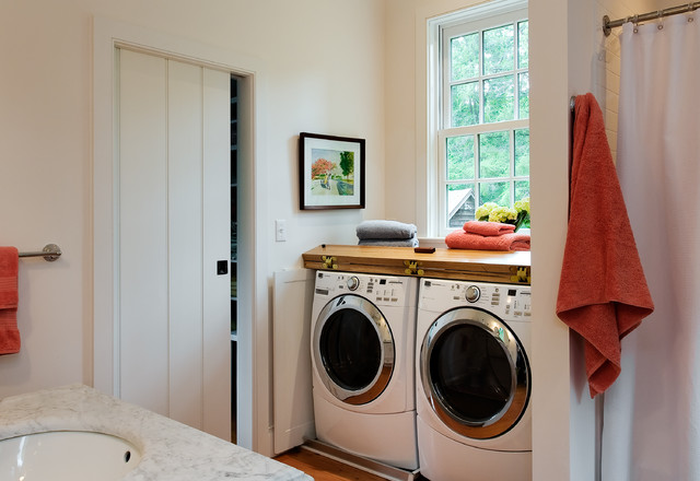 soss hinges Bathroom Traditional with country home covered washer-dryer