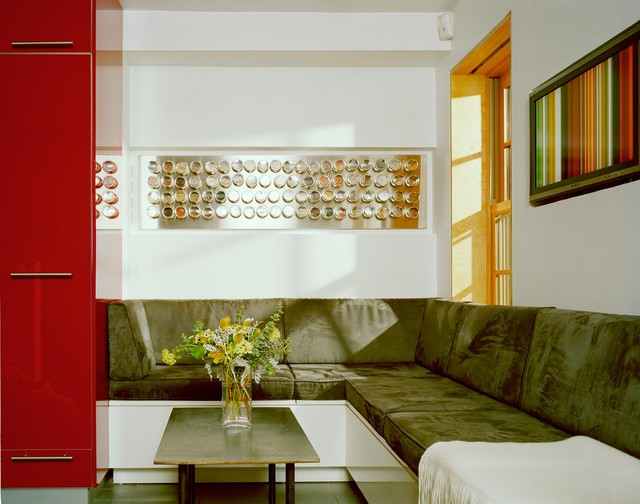Spice Tins Living Room Modern with Banquette Built in Seating