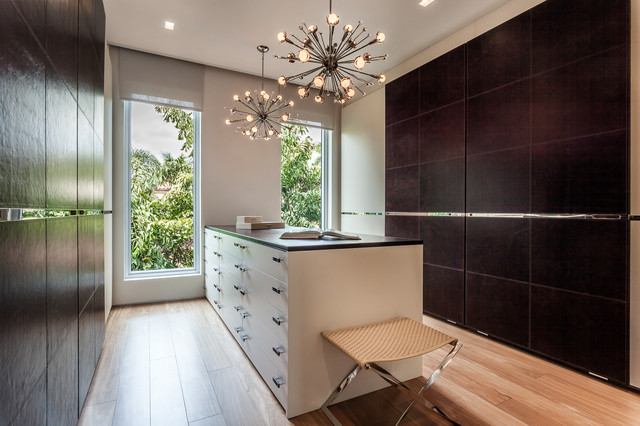 Sputnik Chandelier Closet Contemporary with Black Countertop Closet Island
