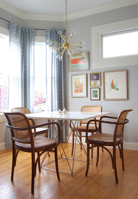 Sputnik Chandelier Dining Room Eclectic with Artwork Bay Window Bentwood