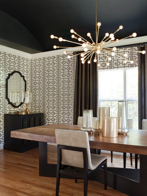 Sputnik Chandelier Dining Room Transitional with Arched Ceiling Black Ceiling
