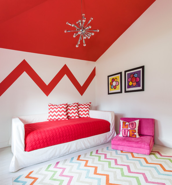 Sputnik Chandelier Kids Contemporary with Chevron Chevron Rug Daybed