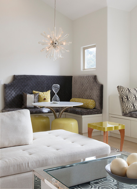 Sputnik Light Dining Room Transitional with Built in Banquette Chartreuse