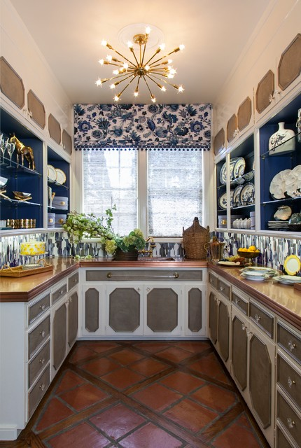Sputnik Light Kitchen Traditional with Blue Accents Blue And