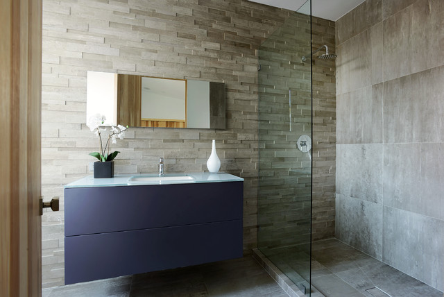 Stacked Stone Tile Bathroom Contemporary with Accent Wall Bathroom Decor