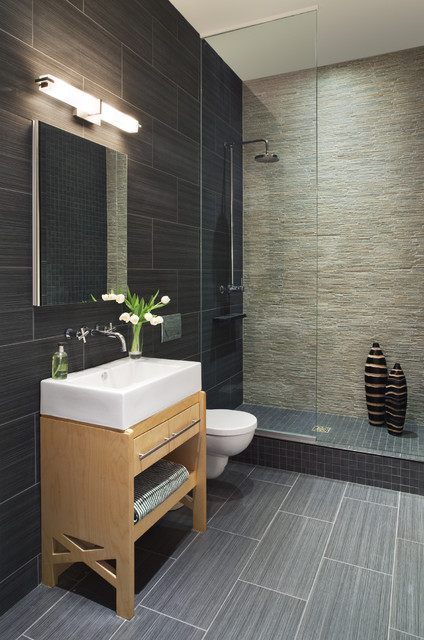 Stacked Stone Tile Bathroom Contemporary with Accent Wall Bathroom Mirror