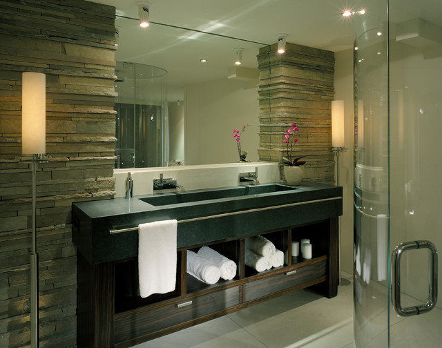 Stacked Stone Tile Bathroom Contemporary with Bath Lighting Black Blue