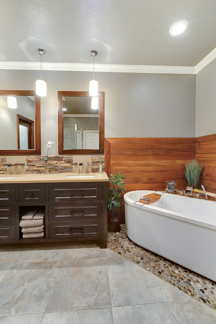 Stacked Stone Tile Bathroom Contemporary with Corner Tub Crown Molding