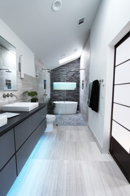 Stacked Stone Tile Bathroom Contemporary with Curbless Shower with Hidden
