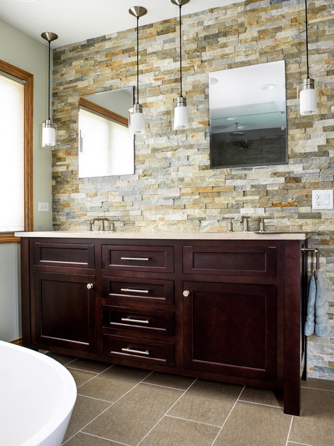 stacked stone tile Bathroom Transitional with bar pulls cherry vanity