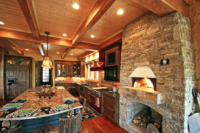 Stacked Stone Tile Kitchen Craftsman with Architectural Design Custom Architecture