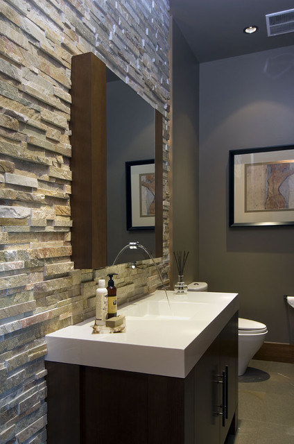 Stacked Stone Tile Powder Room Contemporary with Bathroom Dark Stained Wood